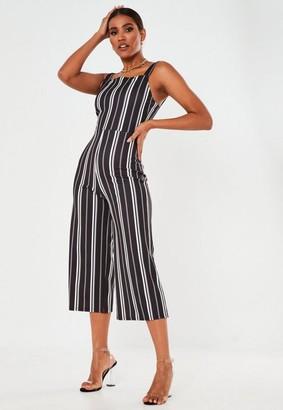 Missguided Black Stripe Culotte Romper