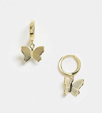 Image Gang huggie hoop earrings with butterfly charm in 18K gold plate