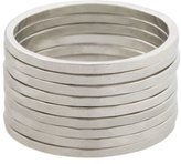 V.MAX A.V. Max Skinny Hammered Ring Set Matte Silver-Plated, Size 8