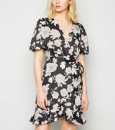 New Look Floral Puff Sleeve Mini Wrap Dress