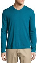 Neiman Marcus Wool V-Neck Modern-Fit Sweater, Peacock
