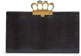 Alexander McQueen Leather Embossed Four-Ring Clutch Bag