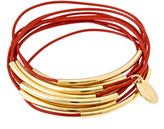 Bee Charming Red Leather 10 Strand Bracelet