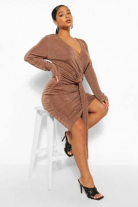 boohoo Plus Textured Slinky Plunge Drape Mini Dress