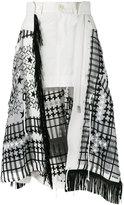 Sacai chiffon insert skirt - women - Cotton/Polyester/Calf Suede - 1