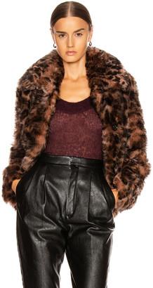 Yves Salomon Toscana Shearling Jacket in Leopard Print Boudoir | FWRD
