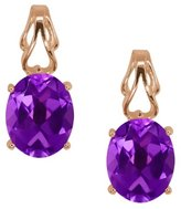 Gem Stone King 3.00 Ct Oval Amethyst Gold Plated 925 Silver Earrings