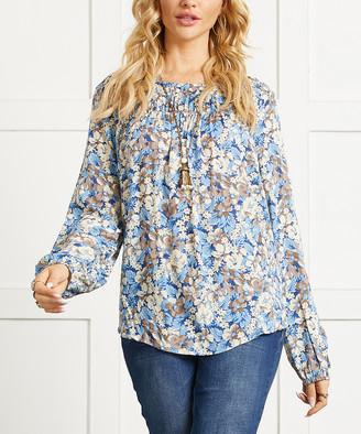 Suzanne Betro Women's Tunics 101BLUE - Blue Floral Lace-Trim Long-Sleeve Tunic - Women & Plus