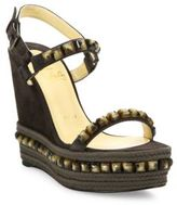 Christian Louboutin Cataclou 120 Studded Suede Espadrille Platform Wedge Sandals