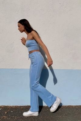 Juicy Couture UO Exclusive Blue Flared Track Pants - Blue L at Urban Outfitters