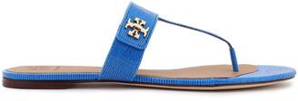 Tory Burch Logo-embellished Lizard-effect Leather Slides