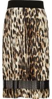 River Island Girls leopard print pleated midi skirt
