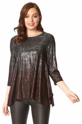 Roman Originals Women Hanky Hem Ombre Foil Print Top - Ladies Smart Casual Evening Christmas Party Sparkle Embellished 3/4 Length Sleeve Round Neck Glitter Tops - Bronze - Size 12
