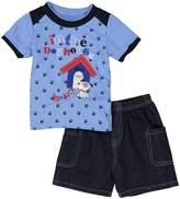 Sweet & Soft Navy Pawprint Dog House Tee & Denim Shorts Set - Infant