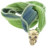 Catherine Michiels Brigitte Blue Sapphires Bronze Charm & Silk Bracelet Wrap