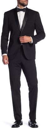 Kenneth Cole Reaction Black Solid Two Button Notch Lapel Techni-Cole Slim Fit Tuxedo