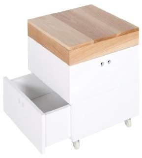 Ninetonine Piglet Cube Bedside Table (Oak/White)