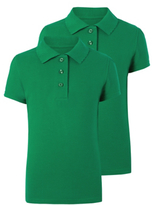 George Girls School 2 Pack Scallop Polo Shirts