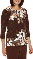 Alfred Dunner Santa Fe 3/4-Sleeve Floral-Print Top
