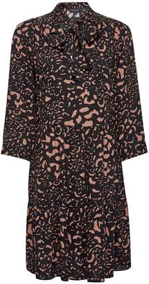 Dorothy Perkins Womens Multi Colour Leopard Print Tie Neck Smock Dress