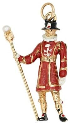 Stephanie Windsor Vintage 14K Yellow Gold Enameled British Palace Guard Charm