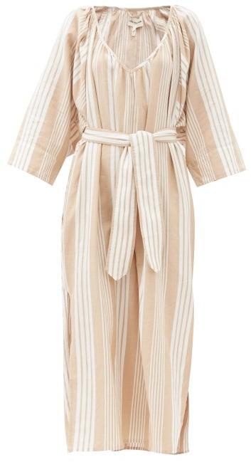 Mara Hoffman Luz Gathered V-neck Tencel-blend Midi Dress - Beige Stripe