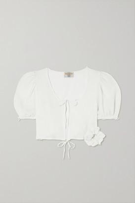MAISONCLÉO Anna Cropped Tie-detailed Silk-cloque Blouse - Ecru