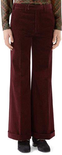 Gucci Men's Velvet Bell-Bottom Trousers, Red