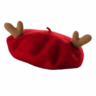 Himifashion Deer Horn Woolen Beret Ladies Winter Hat (Red)