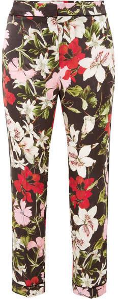 Erdem Ginnie Cropped Floral-print Silk-satin Straight-leg Pants - Black
