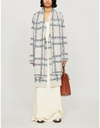 Le Kasha Check-print oversized cashmere cardigan