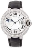 Cartier Ballon Bleu de Diamond, 18K White Gold & Alligator Strap Watch