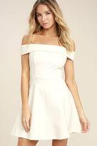 LuLu*s Season of Fun White Off-the-Shoulder Skater Dress
