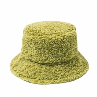 jieGorge Ladies Winter Cashmere Bucket Hat Cute and Warm Caps Hunting Fishing Hat Green