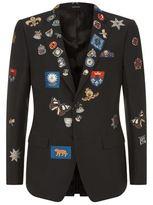 Alexander Mcqueen Jacquard Badge Tailored Jacket