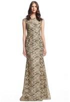 David Meister Cap Sleeve Metallic Formal Evening Gown.