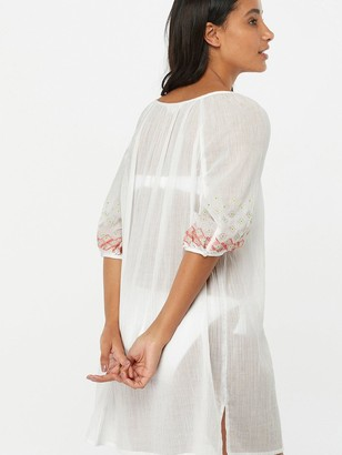 Accessorize Evie Embroidered Long Sleeve Kaftan - White