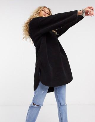 Only teddy hoodie with half zip in black