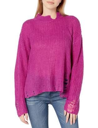 J.o.a. Women's Open Stitch Distressed Knit Sweater