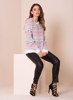 Missy Empire Mary Jo Cream And Pink Print Knitted Jumper