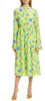 Les Rêveries Ruffle Cuff Floral Silk Long Sleeve Midi Dress