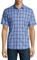 Zachary Prell Plaid Short-Sleeve Woven Shirt, Blue/Navy
