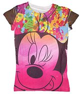 Disney Girls Minnie Mouse Big Face Sublimated Fashion T Shirt - Multicolored (Medium)