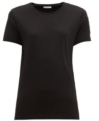 Moncler Velvet-logo Patch Cotton T-shirt - Womens - Black
