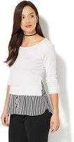 New York & Co. 7th Avenue - Scoopneck Twofer Sweater - Stripe