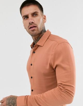 Asos Design DESIGN muscle viscose shirt in light rust-Brown