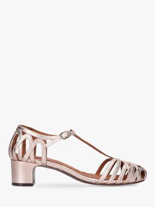 Chie Mihara Nenu T-Bar Low Block Heel Sandals, Natural