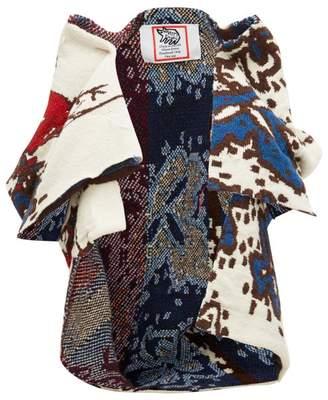 Matty Bovan - Gathered-shoulders Deadstock-knit Cardigan - Womens - Ivory Multi