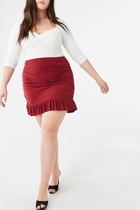 Forever 21 Plus Size Ruched Flounce-Hem Skirt