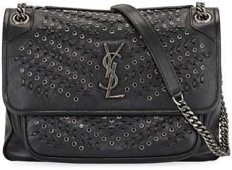Saint Laurent Niki Medium Grommet & Topstitch Leather Shoulder Bag